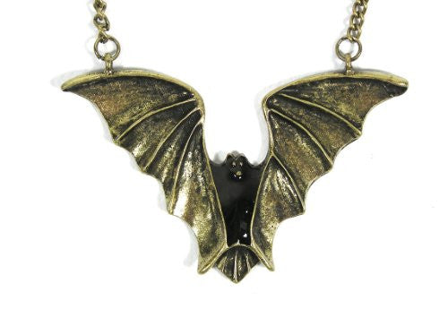 Flying Bat Necklace Gothic Vampire Blood Dark Statement NL14 Antique Gold Tone Pendant Fashion Jewelry