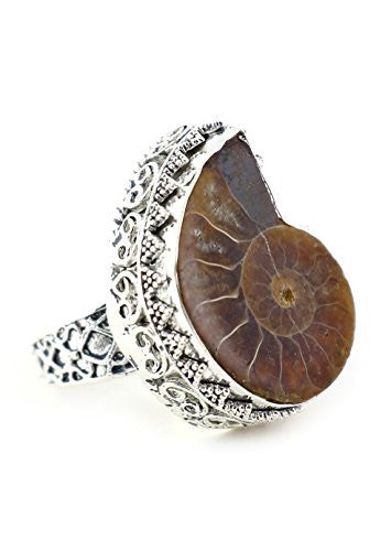 Ammonite Fossil Ring Prehistoric Nautilus Shell Silver Tone RM33 Fashion Jewelry