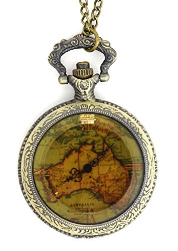 Map of Australia Pocketwatch Necklace Antique Gold Tone NX72 Watch Pendant Fashion Jewelry