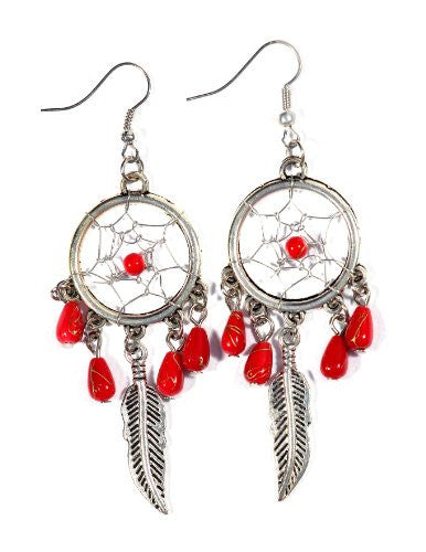 Dreamcatcher Dangle Earrings Red Beaded Chandelier Vintage Silver Tone EA50 Feather Charm