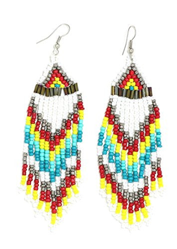 Turquoise Beaded Native White Fringe Chandelier Earrings Dangling Tribal Statement EM28 Fashion Jewelry