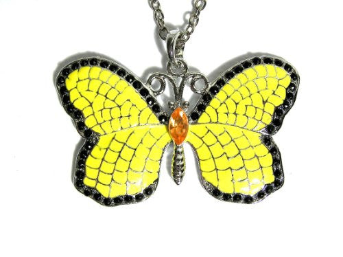Yellow Butterfly Necklace Vintage Silver Tone Crystal Charm NA07 Antique Moth Pendant Fashion Jewelry