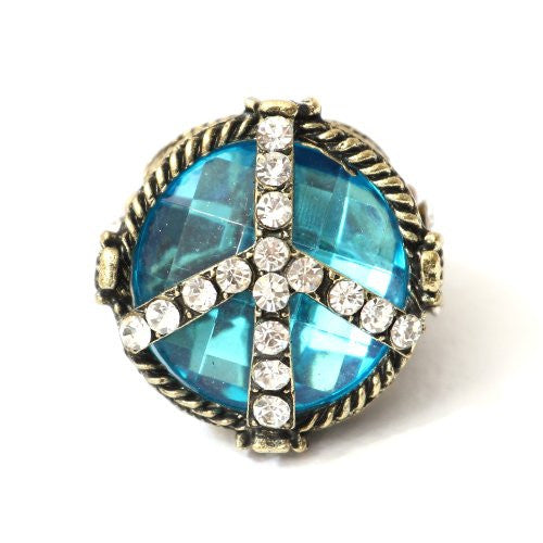 Crystal Peace Sign Stretch Ring Size 6 Blue Crystal RD34 Flower Power Anti War Statement Cocktail