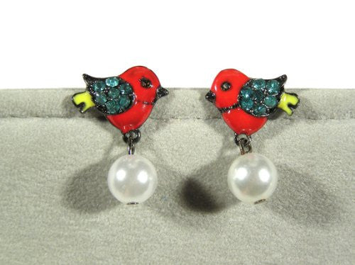 Red Bird Earrings Cardinal Crystal EE04 Sparrow Swallow Faux Pearl Dangle Studs
