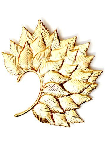 Leaves Ear Cuff Metal Wrap Gold Tone CC16 Hair Clip Headpiece Fairy Leaf Nature Earring