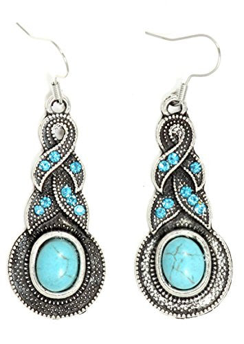 Braided Turquoise Earrings Oval Cabochon Antique Silver Tone EI57 Crystal Chandelier Fashion Jewelry