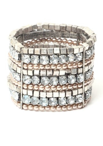 Crystals Bracelet Faux Pearl Beading BA34 Gems Silver Tone Cubes Sparkle Stretch Wrist Cuff