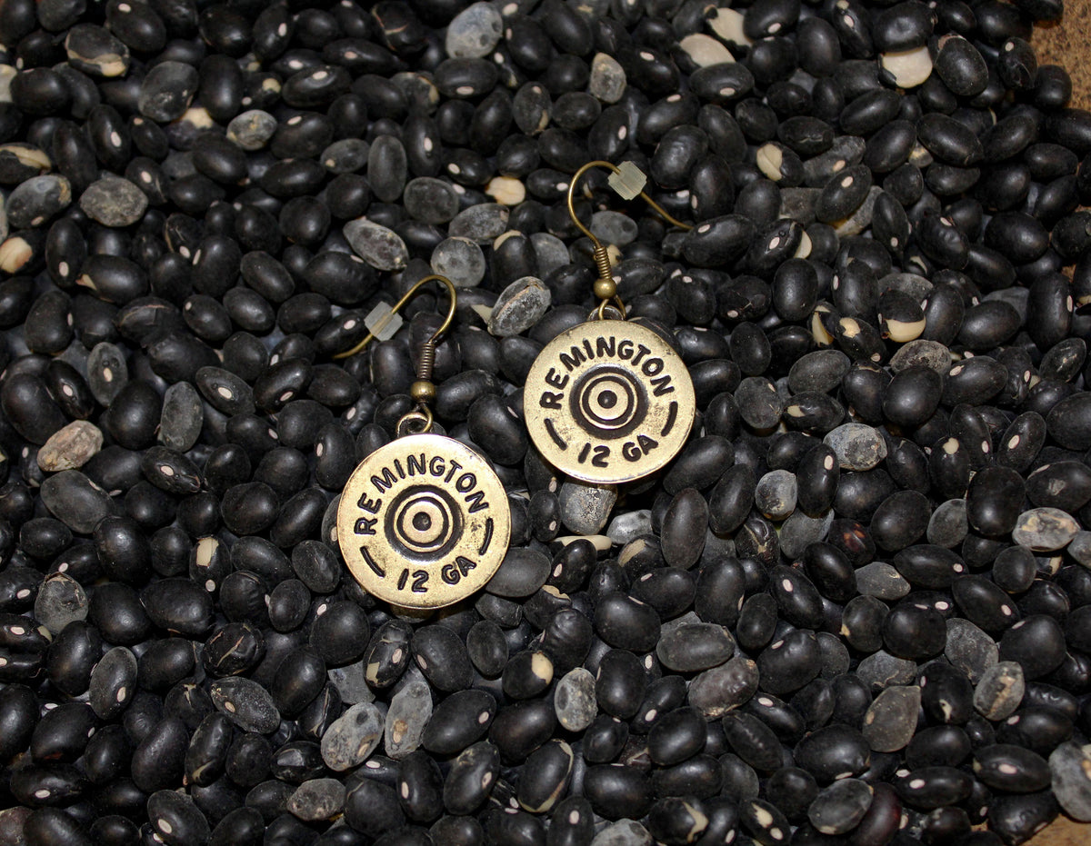Shotgun Shell Remington shell dangle earrings, silver gold earrings Southern