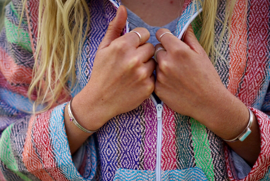 Baja Hoodie Zip Up Multi Rainbow