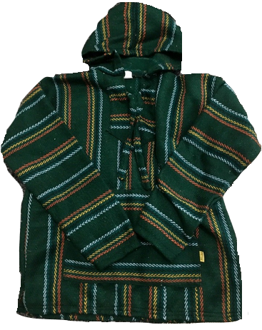 Baja Hoodie - Green with Yellow/Orange Stripes
