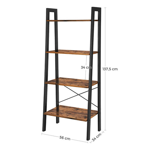 Koval Inc. Industrial 4-Tier Bookshelf