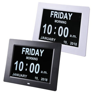"8"" inch Large Digital Calendar Day Clock with 6-Alarm Black/White"