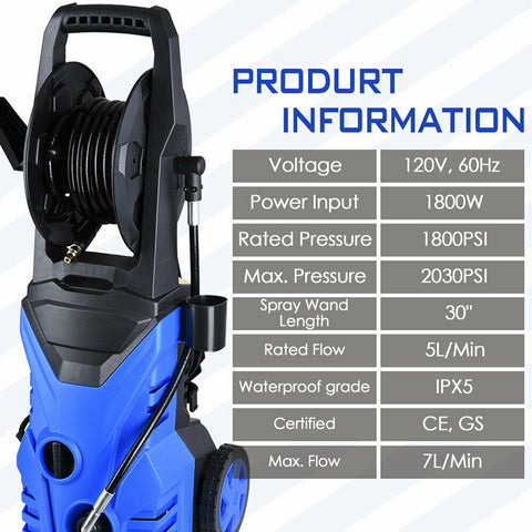 Blue Mini 2030psi 1.8gpm Electric Pressure Cleaner Washer 4 Nozzles