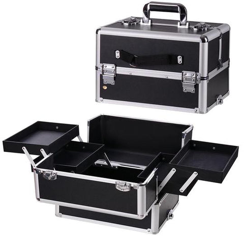 Aluminum Pro 4-in-1 Train Cosmetic Makeup Case with Key Lock