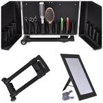 Aluminum Rolling Salon Hair Stylist Train Case with Handle Mirror