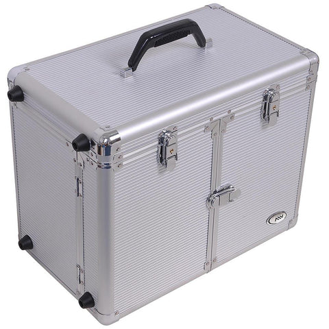 Image of Aluminum Rolling Salon Hair Stylist Train Case with Handle Mirror