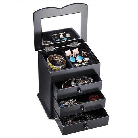 Image of Jewelry Organizer Box with Mirror Ring Bracelet Necklace