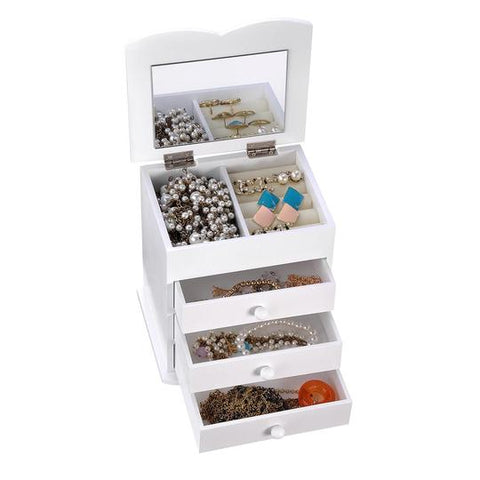 Jewelry Organizer Box with Mirror Ring Bracelet Necklace Color Opt