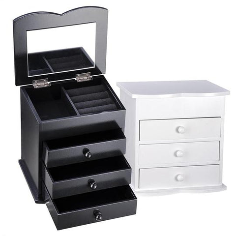 Image of Jewelry Organizer Box with Mirror Ring Bracelet Necklace Color Opt