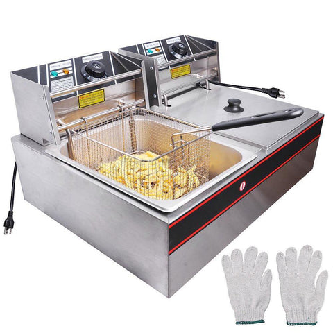 12L or 6L (Liter) Commercial Electric Countertop Dual or Single Deep Fryer