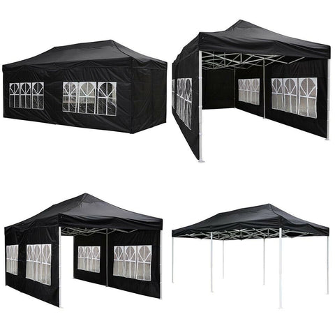 Koval Inc. 10x20 FT Pop Up Canopy Tent with 4 Walls - Black