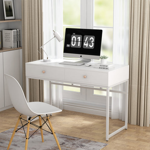 Koval Inc. 47 Inch Modern Computer Desk With Two Storage Drawers
