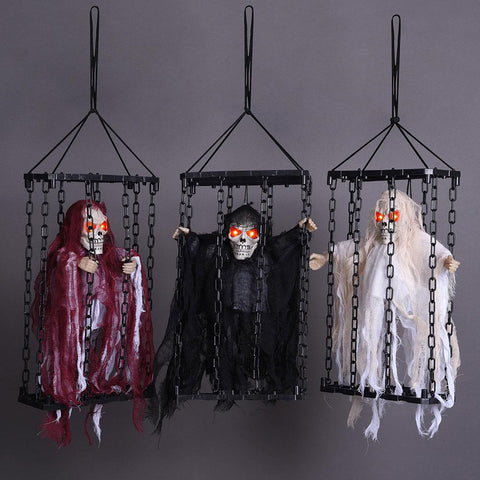 Image of 3 Pcs Animated Caged Skeleton in a Cage Halloween Prop