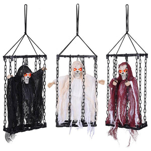 3 Pcs Animated Caged Skeleton in a Cage Halloween Prop