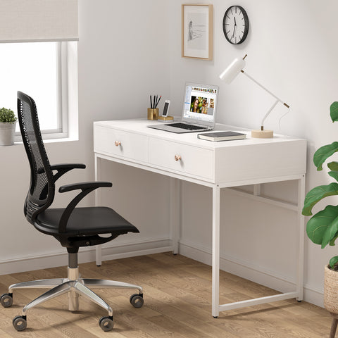 "Image of Koval Inc. 47"" Modern Computer Desk With Two Storage Drawers For Home Office Desk, Makeup Vanity Desk, Writing Desk"