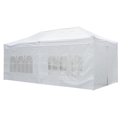 Koval Inc. 10x20 FT Pop Up Canopy Tent with 4 Walls - White