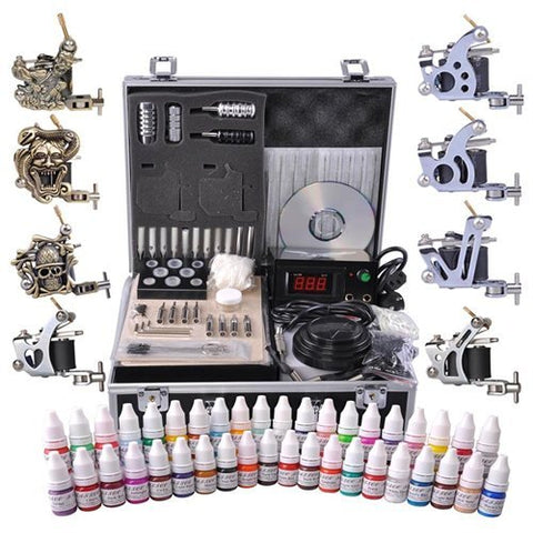 Tattoo Kit 8 Guns LCD Power Supply 54 Ink w/ Case