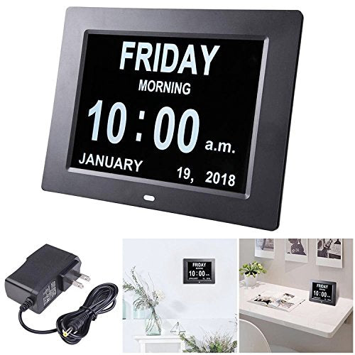 8in Large Digital Calendar Day Clock with 6-Alarm Black/White