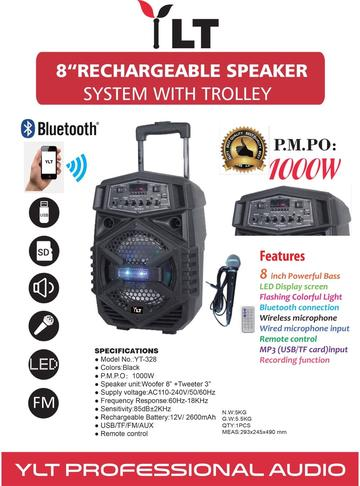 "YLT AUDIO YT-328 8"" PORTABLE ACTIVE DJ PA RECHARGEABLE SPEAKER BLUETOOTH USB SD"