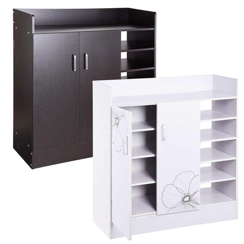 Image of 18 Pairs Double Door Shoes Cabinet Organizer (Black Walnut)(White)