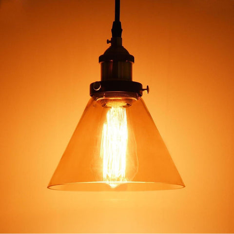 "Image of 7"" Glass Cone Pendant Light Hanging Lamp"