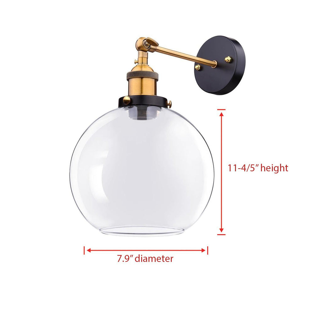 "7.9"" Industrial Globe Glass Sconce Light"