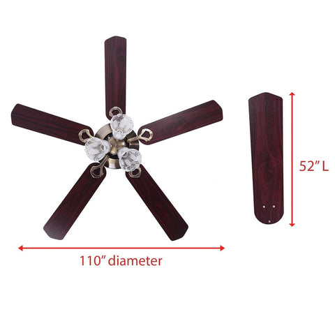 Image of 5-Blade Ceiling Fan with Light & Remote