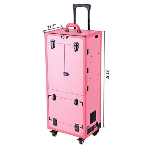 Image of Pro Artist Rolling Makeup Organizer Case w Light Mirror