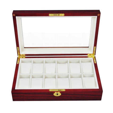 12-Slot Wooden Watch Display Case