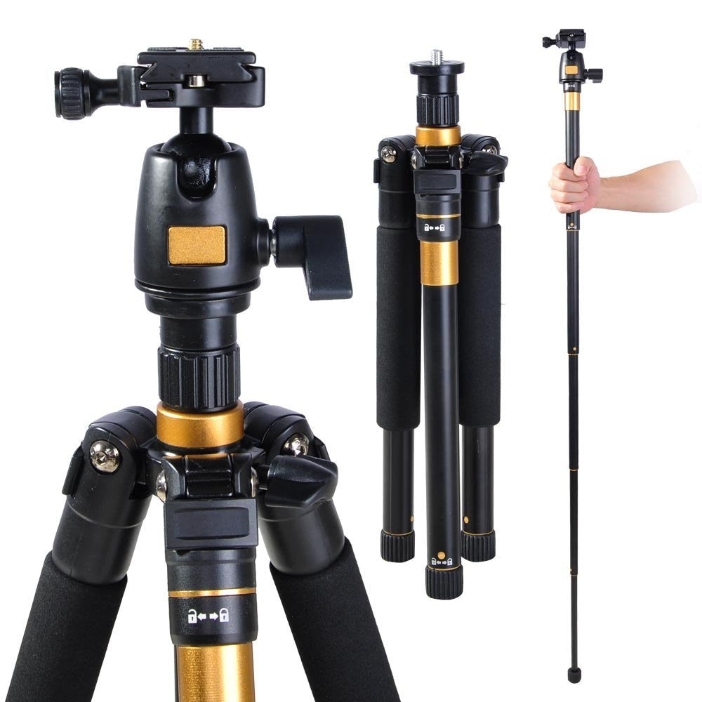 "Adjustable Pro 60"" Tripod Monopod with Ball Head For DSLR Camera Travel Aluminum"