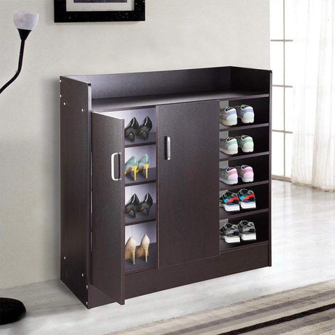 Image of 18 Pairs Double Door Shoes Cabinet Organizer (Black Walnut or White)