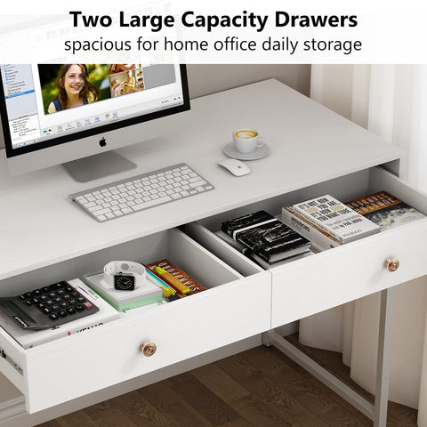 "Koval Inc. 47"" Modern Computer Desk With Two Storage Drawers For Home Office Desk, Makeup Vanity Desk, Writing Desk"
