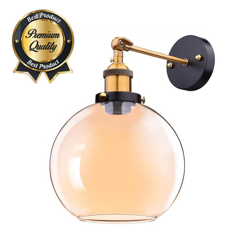 "Image of 7.9"" Industrial Globe Glass Sconce Light"