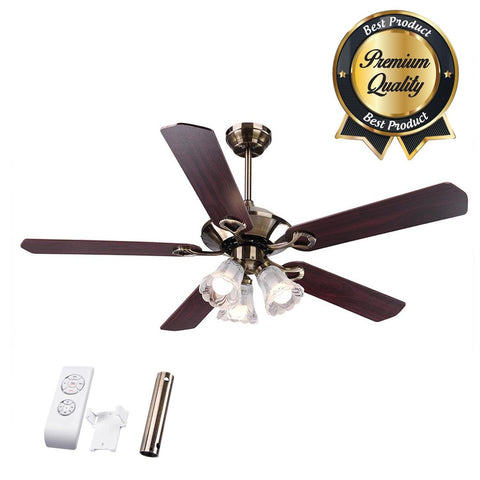 5-Blade Ceiling Fan with Light & Remote