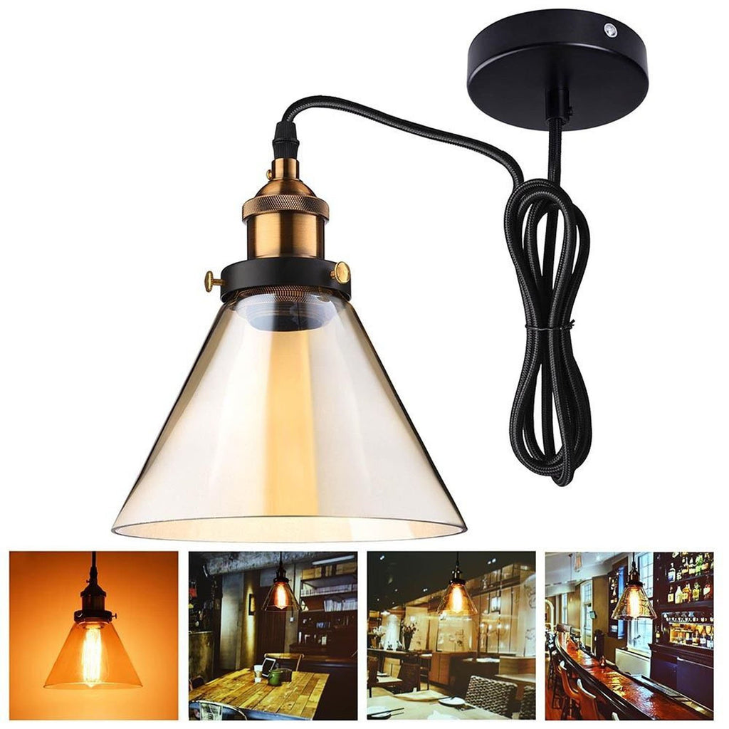 "7"" Glass Cone Pendant Light Hanging Lamp"