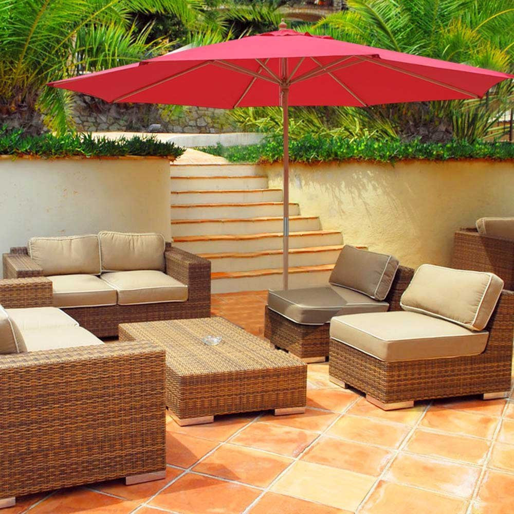 ... 13u0027 Patio Umbrella W/German Beech Wood ...