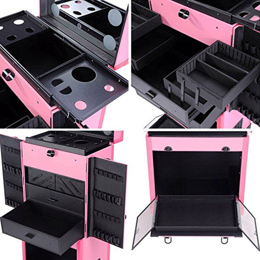 Pro Artist Rolling Makeup Organizer Case w Light Mirror