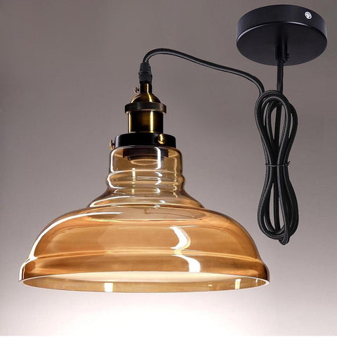 "Image of 11"" Pendant Glass Copper Hanging Lamp"