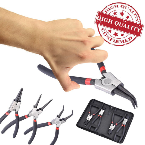 Internal and External Circlip Snap Ring Plier Set w/ Case