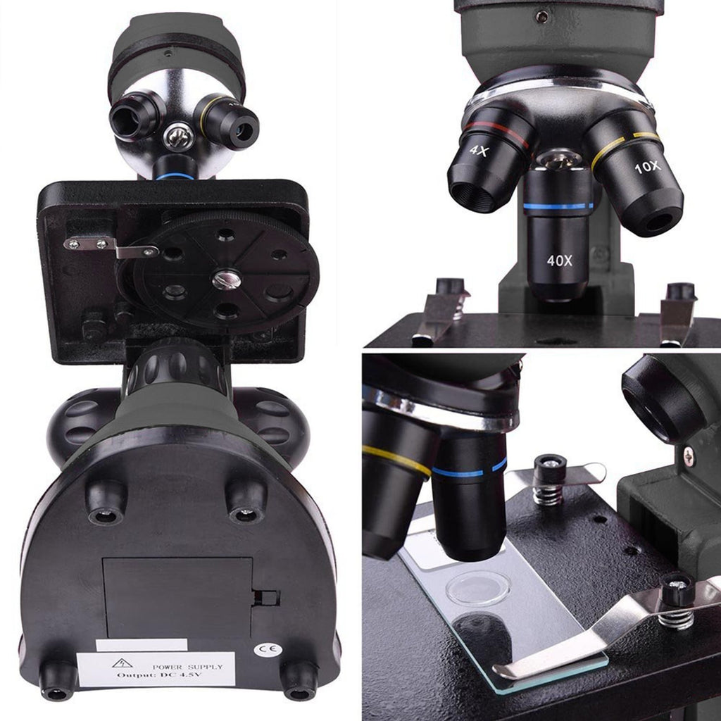 40x-1000x Lab Compound Microscope w/ Two Layer Mechanical Stage